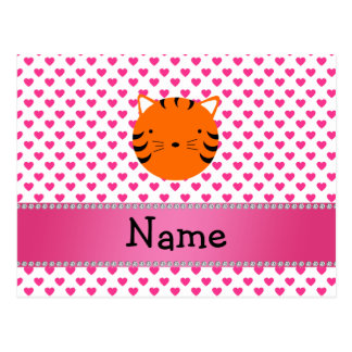 Personalized name tiger face pink hearts polka dot postcards
