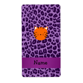 Personalized name tiger face purple leopard print personalized shipping labels