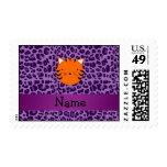Personalized name tiger face purple leopard print postage stamp
