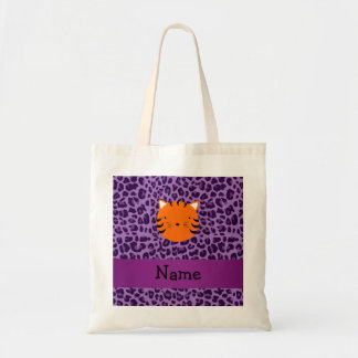 Personalized name tiger face purple leopard print tote bag