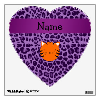 Personalized name tiger face purple leopard print room sticker