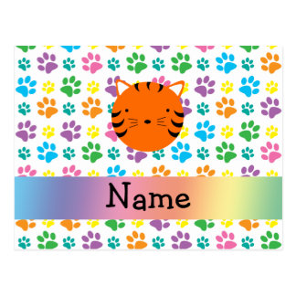 Personalized name tiger face rainbow paws post card