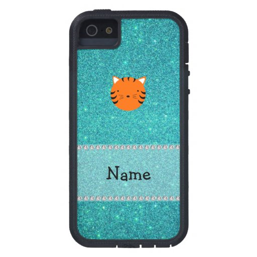 Personalized name tiger face turquoise glitter iPhone 5 cases