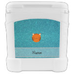 Personalized name tiger face turquoise glitter igloo rolling cooler