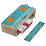 Personalized name tiger face turquoise glitter maple cribbage board