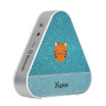 Personalized name tiger face turquoise glitter bluetooth speaker