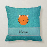 Personalized name tiger face turquoise glitter throw pillows