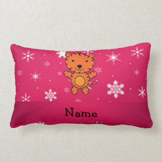 Personalized name tiger pink snowflakes lumbar pillow