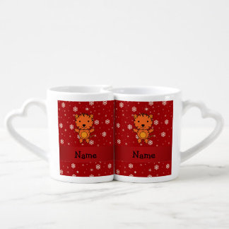 Personalized name tiger red snowflakes couples' coffee mug set