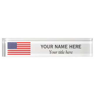 Personalized name title patriotic American US flag Name Plate