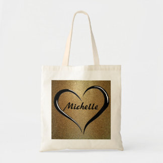 Personalized Name Tote Bag on Gold & Black Heart