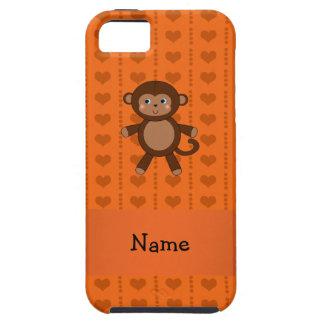 Personalized name toy monkey orange hearts iPhone 5 case