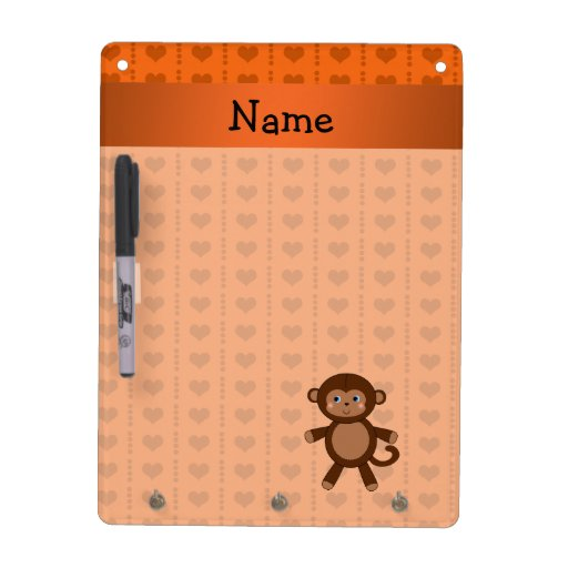 Personalized name toy monkey orange hearts dry erase white board