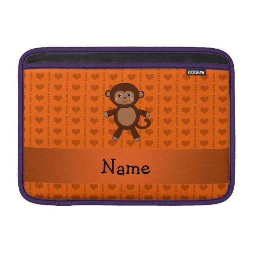 Personalized name toy monkey orange hearts MacBook air sleeves