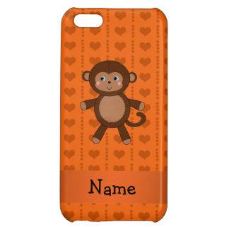 Personalized name toy monkey orange hearts iPhone 5C case