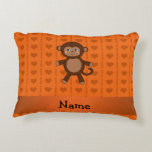 Personalized name toy monkey orange hearts accent pillow