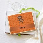 Personalized name toy monkey orange hearts jumbo cookie