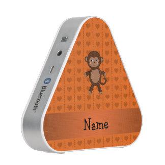 Personalized name toy monkey orange hearts bluetooth speaker