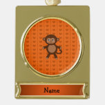 Personalized name toy monkey orange hearts gold plated banner ornament