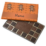 Personalized name toy monkey orange hearts 45 piece assorted chocolate box