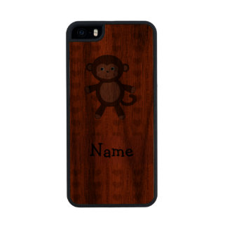 Personalized name toy monkey orange hearts carved® walnut iPhone 5 case