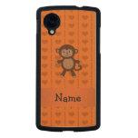 Personalized name toy monkey orange hearts carved® maple nexus 5 case