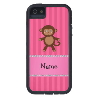 Personalized name toy monkey pink stripes iPhone 5 covers