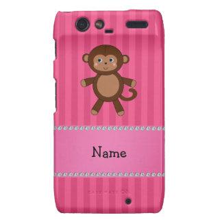 Personalized name toy monkey pink stripes motorola droid RAZR cover