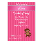 """Personalized name toy monkey pink stripes 5"""" x 7"""" invitation card"""