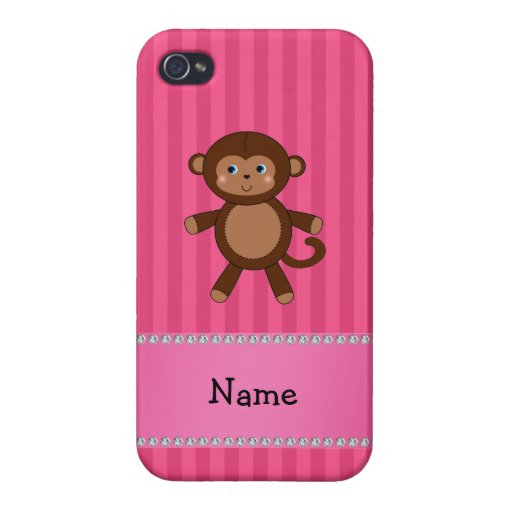 Personalized name toy monkey pink stripes cases for iPhone 4
