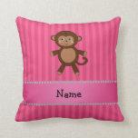Personalized name toy monkey pink stripes throw pillows
