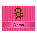 Personalized name toy monkey pink stripes postcard