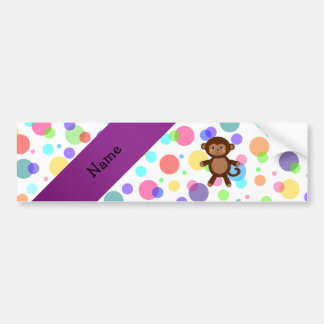 Personalized name toy monkey rainbow polka dots bumper stickers