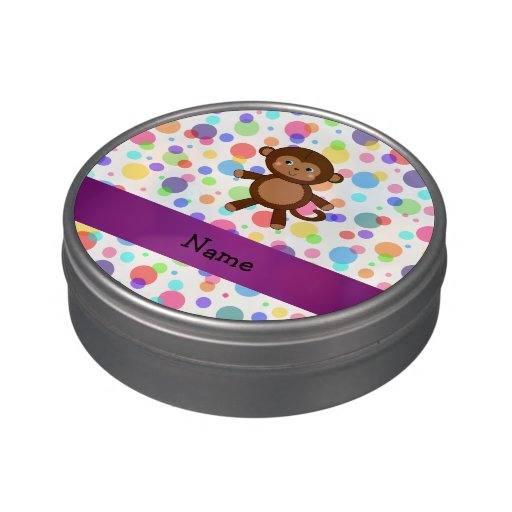 Personalized name toy monkey rainbow polka dots jelly belly candy tin