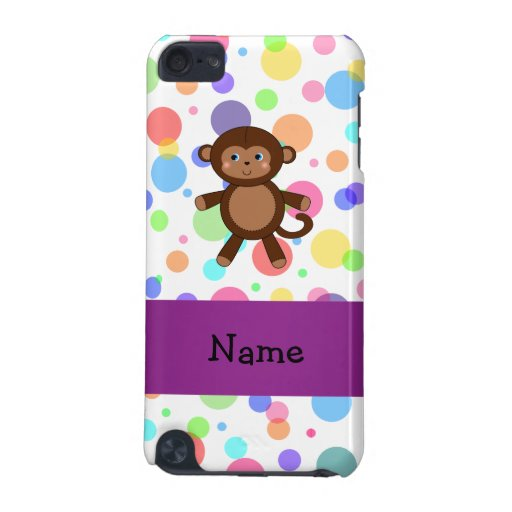 Personalized name toy monkey rainbow polka dots iPod touch (5th generation) case