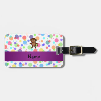Personalized name toy monkey rainbow polka dots tag for bags