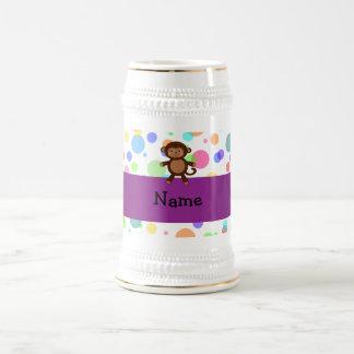 Personalized name toy monkey rainbow polka dots coffee mug