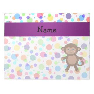 Personalized name toy monkey rainbow polka dots notepad