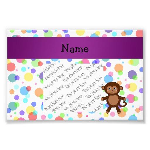 Personalized name toy monkey rainbow polka dots photo print