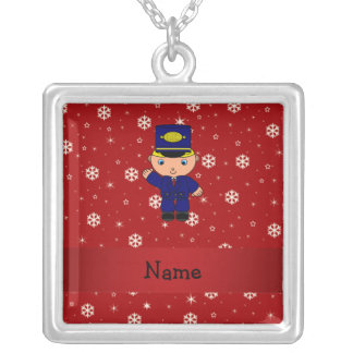 Personalized name train conductor red snowflakes jewelry