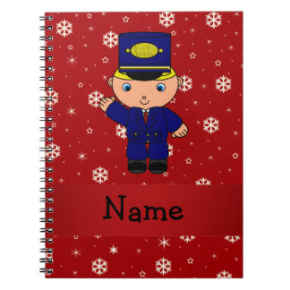 Personalized name train conductor red snowflakes note book