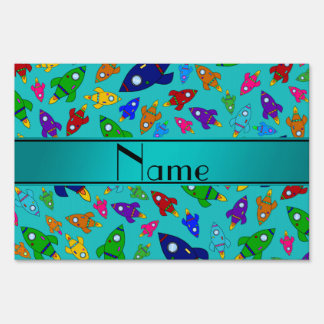 Personalized name turquiose rocket ships sign