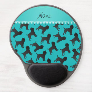Personalized name turquoise affenpinscher dogs gel mouse pad