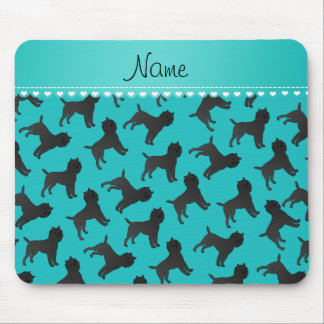 Personalized name turquoise affenpinscher dogs mouse pad