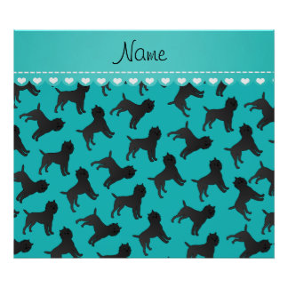 Personalized name turquoise affenpinscher dogs poster