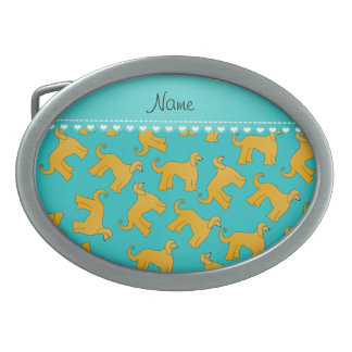 Personalized name turquoise afghan hound dogs belt buckles