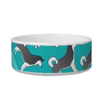 Personalized name turquoise alaskan malamute dogs pet water bowl