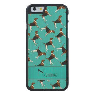 Personalized name turquoise american foxhound dogs carved® maple iPhone 6 case