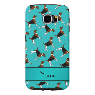 Personalized name turquoise american foxhound dogs samsung galaxy s6 cases