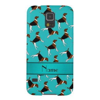 Personalized name turquoise american foxhound dogs cases for galaxy s5